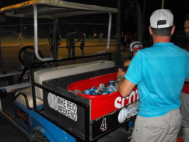 Robert and Laurin selling beer in the ever-popular beer cart!